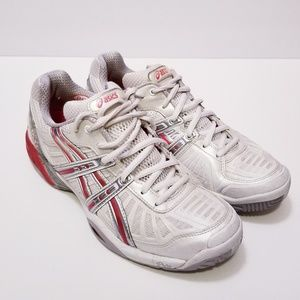 Asics Womens Sz 8.5 E950Y IGS White/Red Sneakers